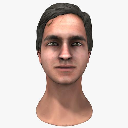 Low Poly European Male Head3D model