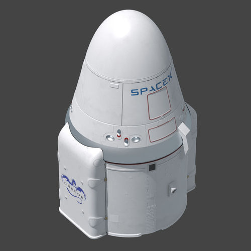 dragon capsule spacex 3d model animated max obj mtl fbx 1