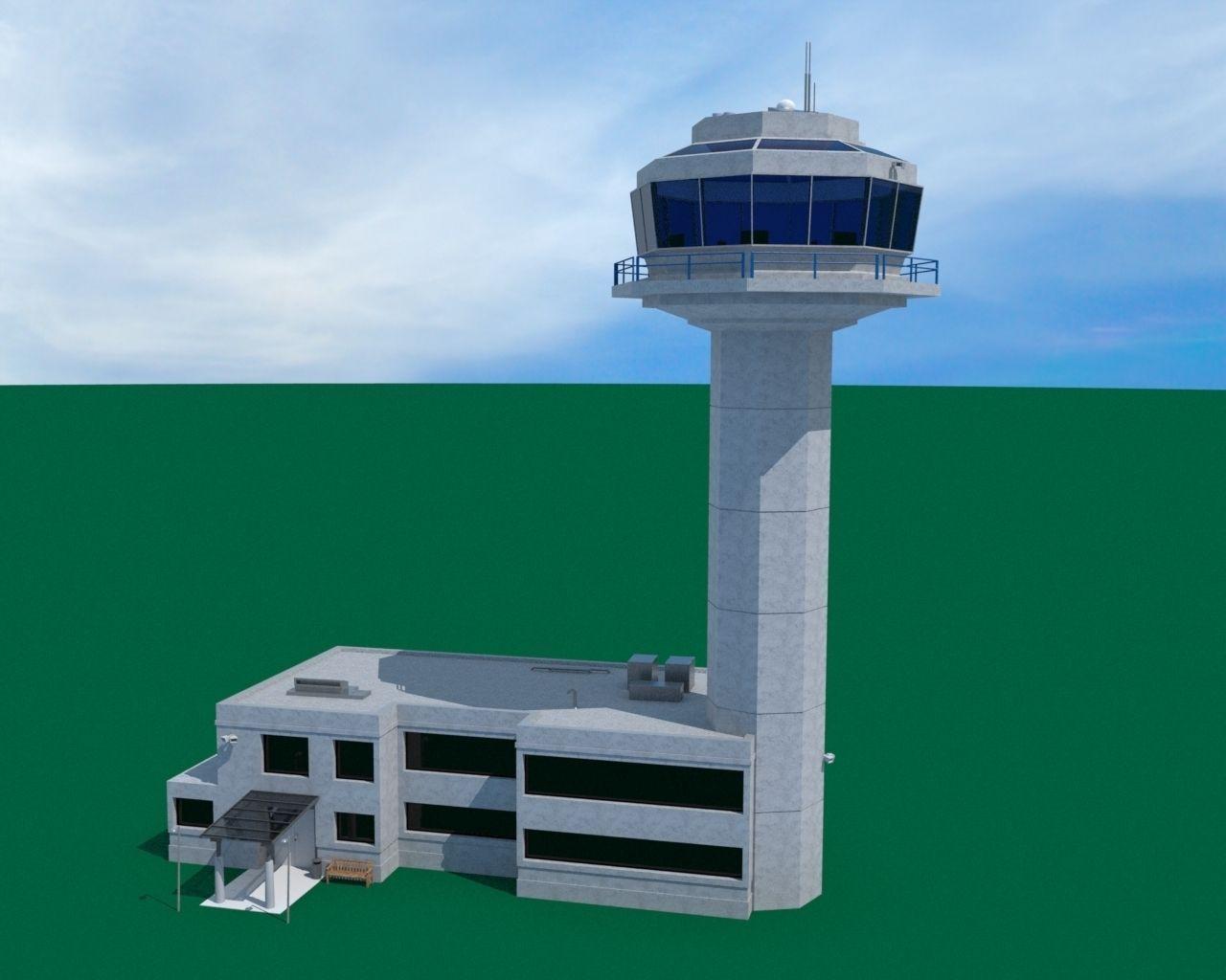Air Traffic Control Tower 3d Model Obj Fbx Lwo Lw Lws