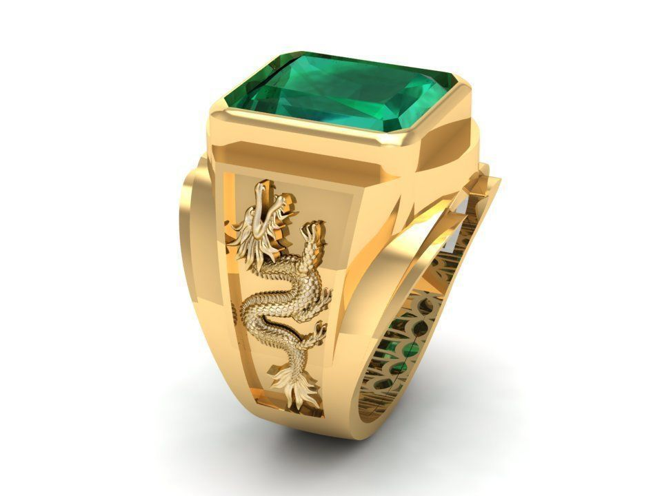 e18bafa187b1bf 776 Zodiac Dragon Men Ring 3D print model | CGTrader