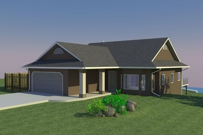 3d model home with walkout basement cgtrader for New homes with walkout basement