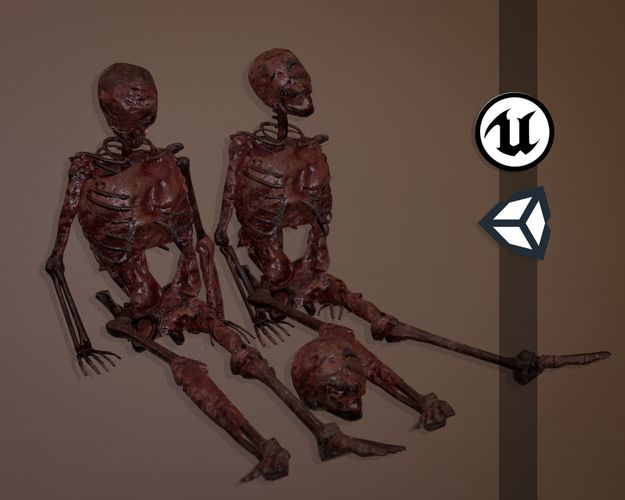 decomposing flesh skeletons - game ready - pbr 3d model fbx 1