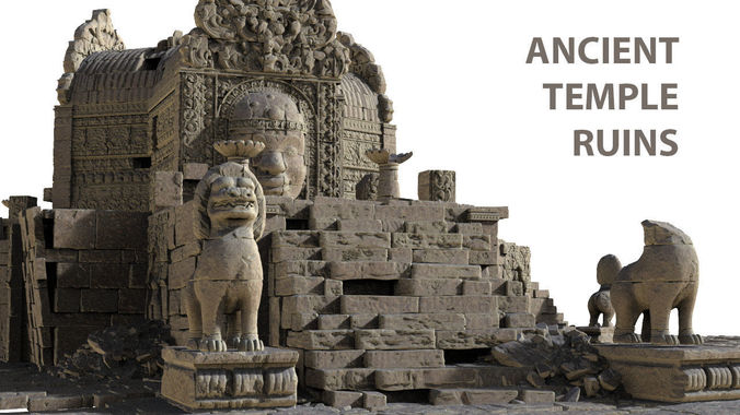 ancient temple ruins high poly objects 3d model obj mtl 1