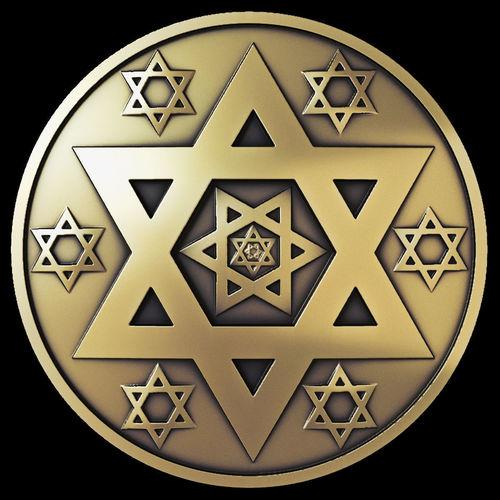 star of david coin  3d model max fbx stl 1