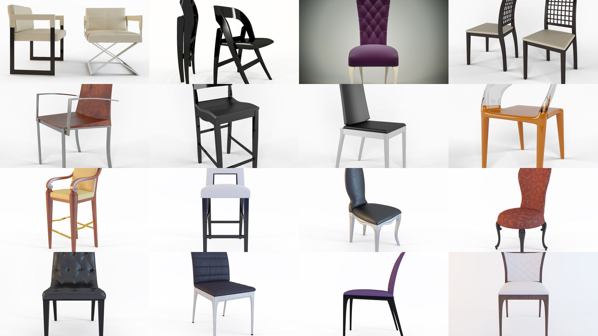 A Collection Diffe Types Chairs For