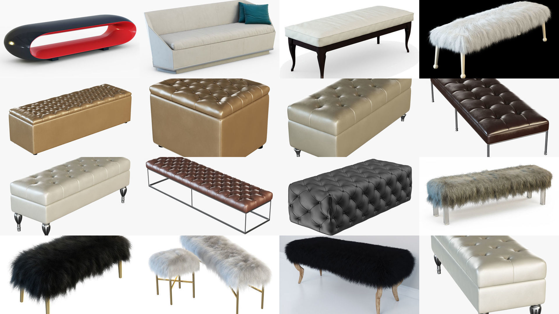 Collection  different  bench for your projects 15 models