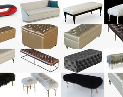 Collection different bench for your projects 15 3D