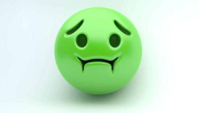 emoji sick 3d model max obj mtl 3ds fbx 1
