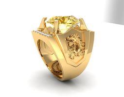 786 Diamond Dragon Ring for men 3D print model