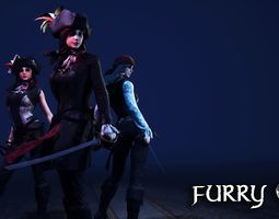 3D model FurryS3 The Pirates for Unity 2018