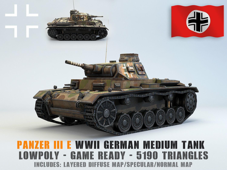 Low Poly Panzer III E medium tank | 3D model