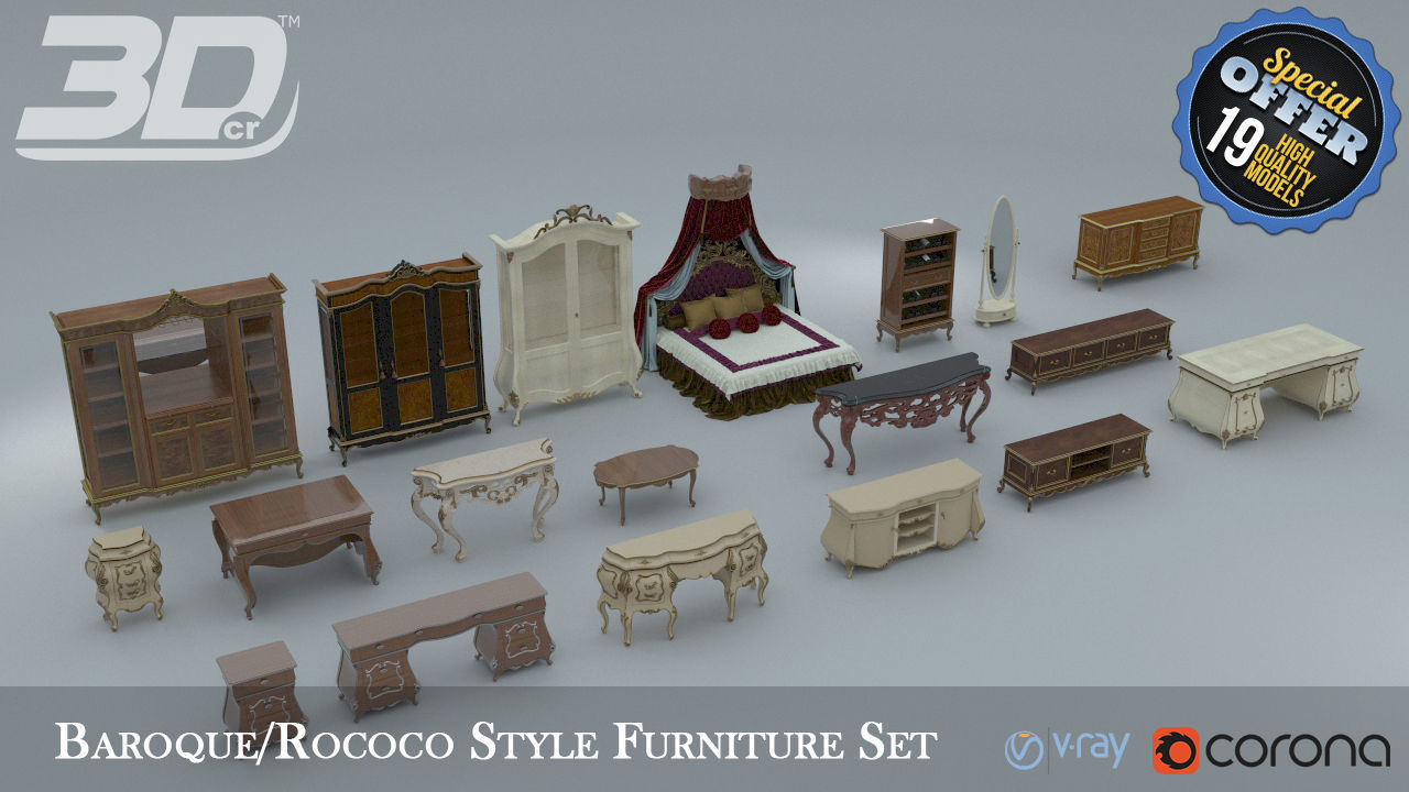 Baroque Rococo Style Furniture Collection 3d Model