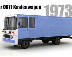 3D model Robur O611 Kastenwagen and B26 Bus antique