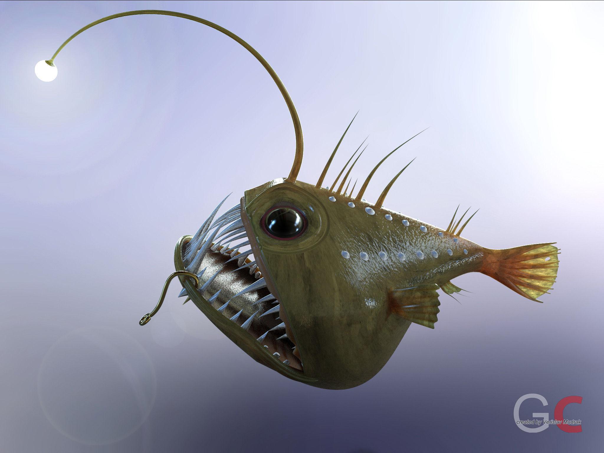 Angler fish angus free 3d model stl sldprt sldasm for Angler fish toy