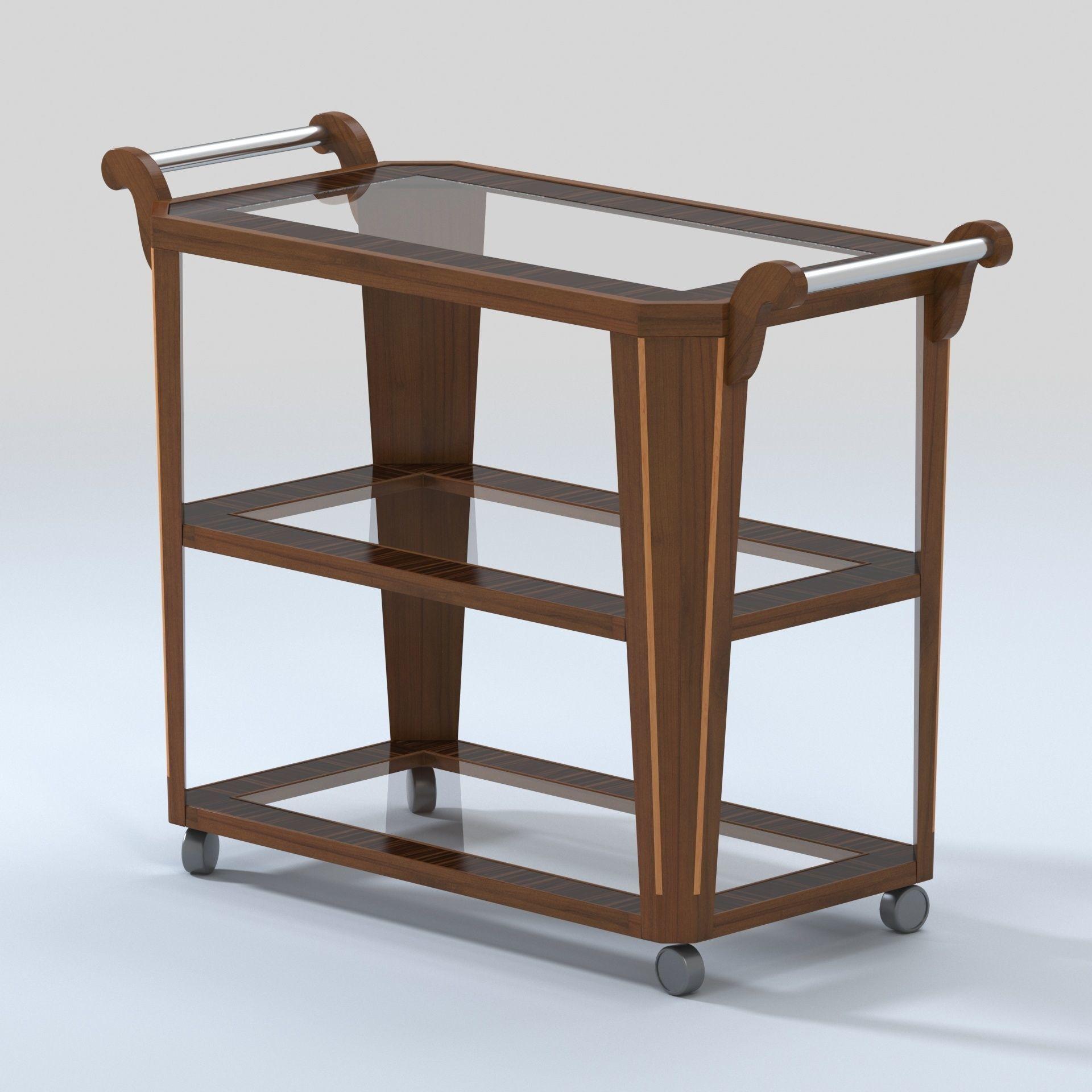 Vintage Bar Cart >> 3d Model Vintage Bar Cart With Zebra Wood And Glass