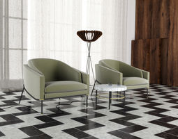 3D Armchair set 0509 with floorlamp and coffee-table