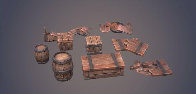 stylized wooden crates and barrels pack volume 1 3d model low-poly obj mtl fbx ma mb stl tga unitypackage prefab 1