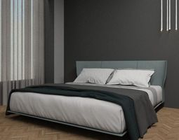 coverlet Modern Bed With Bedding 3D