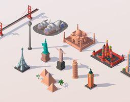Polygonia Cartoon World Landmarks Pack 3D model