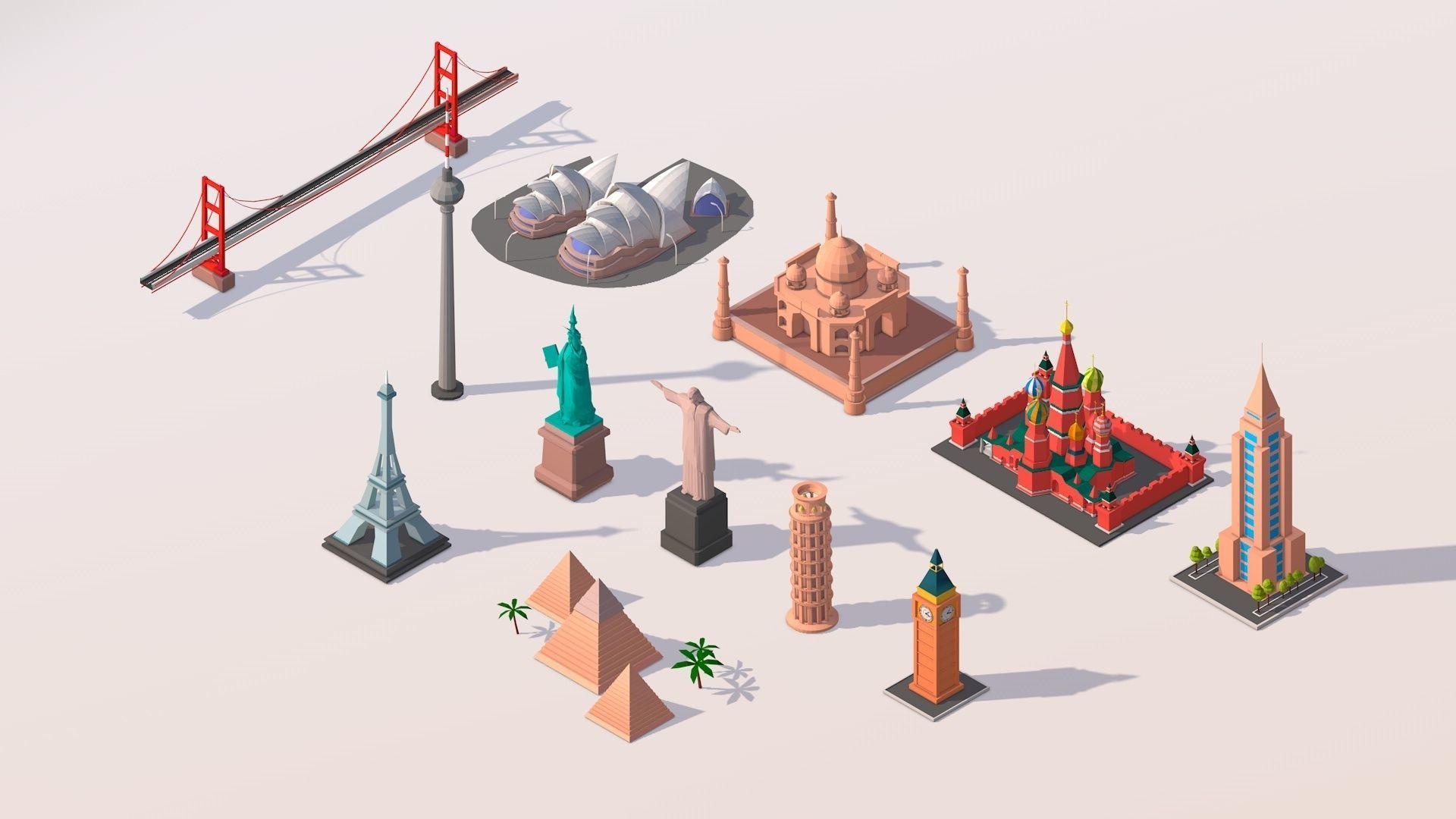 Polygonia Cartoon World Landmarks Pack