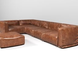 3D model Leather Corner Sofa