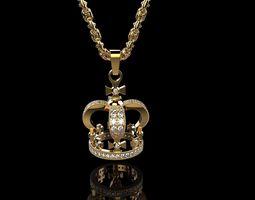 3d print model royal kings diamond crown necklace