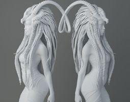 HD Horns headdress girl 005 3D print model