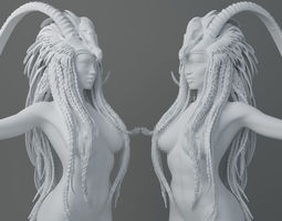 HD Horns headdress girl 009 3D print model