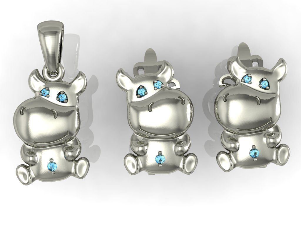 earring and pendant little hippo