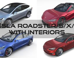 3D Tesla Roadster Model S X 3 with interiors