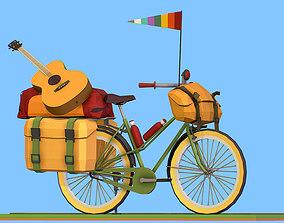 isometric art lowpoly model tourist bike ride 3D asset