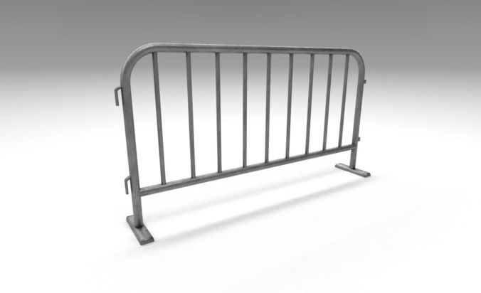 metal traffic fence 3d model low-poly obj mtl 3ds fbx 1