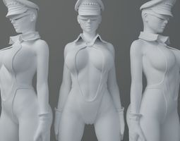 HD Swimsuit uniform girl 3D print model