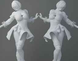 3D printable model HD Cartoon short skirt girl