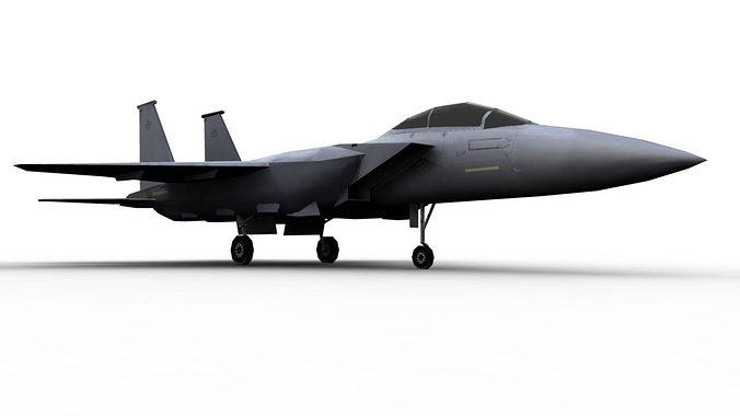 f15 aircraft 3d model low-poly obj mtl fbx ma mb 1