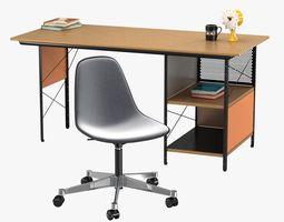 3D model Vitra Eames plastic chair and edu desk unit