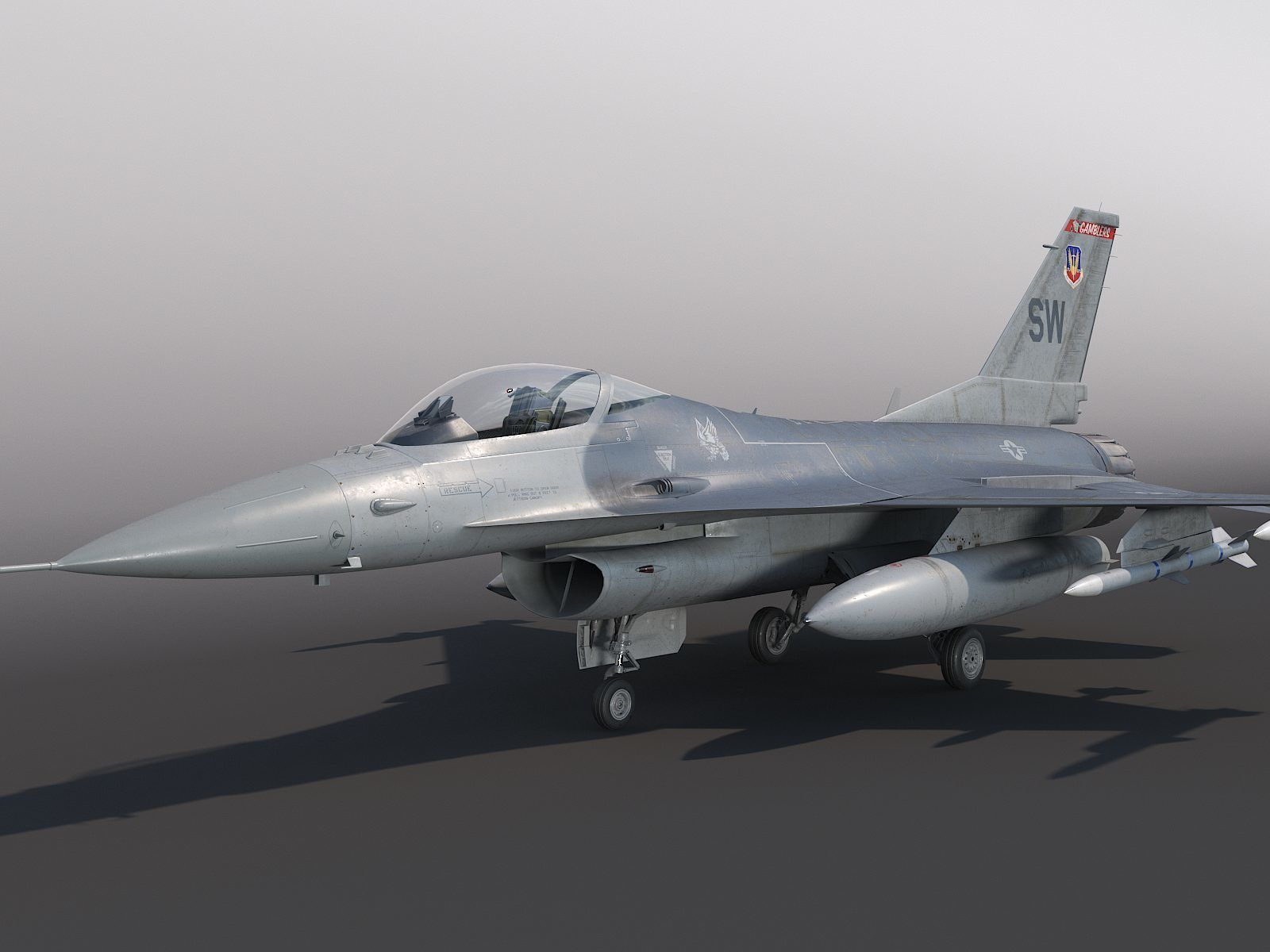 General Dynamics F-16 Fighting Falcon rigged
