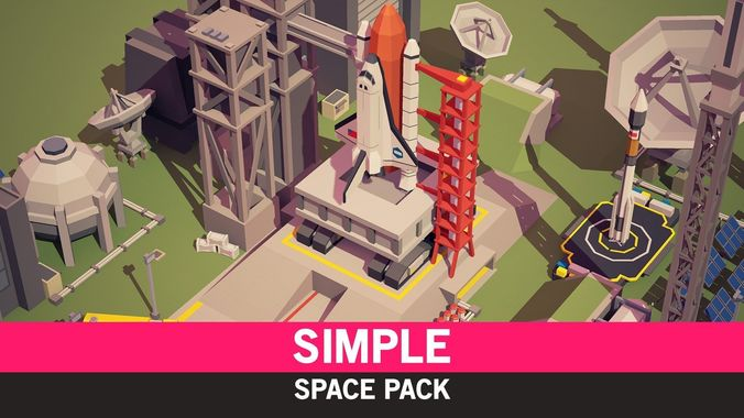 simple space - cartoon assets 3d model low-poly obj mtl fbx ma mb unitypackage prefab mat uasset 1