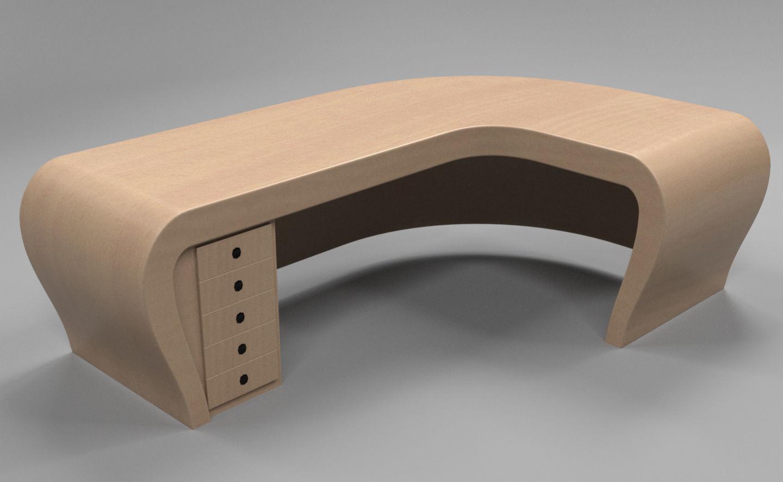 Office Desk Curved Model Obj Fbx C4d Mtl 1