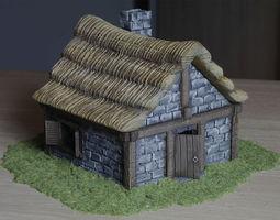 Medieval village building 3D printable model