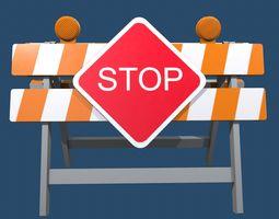 3D asset Traffic Alert Road Block Sign