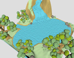 realtime Low poly Waterfall spring 3d model for cartoon or