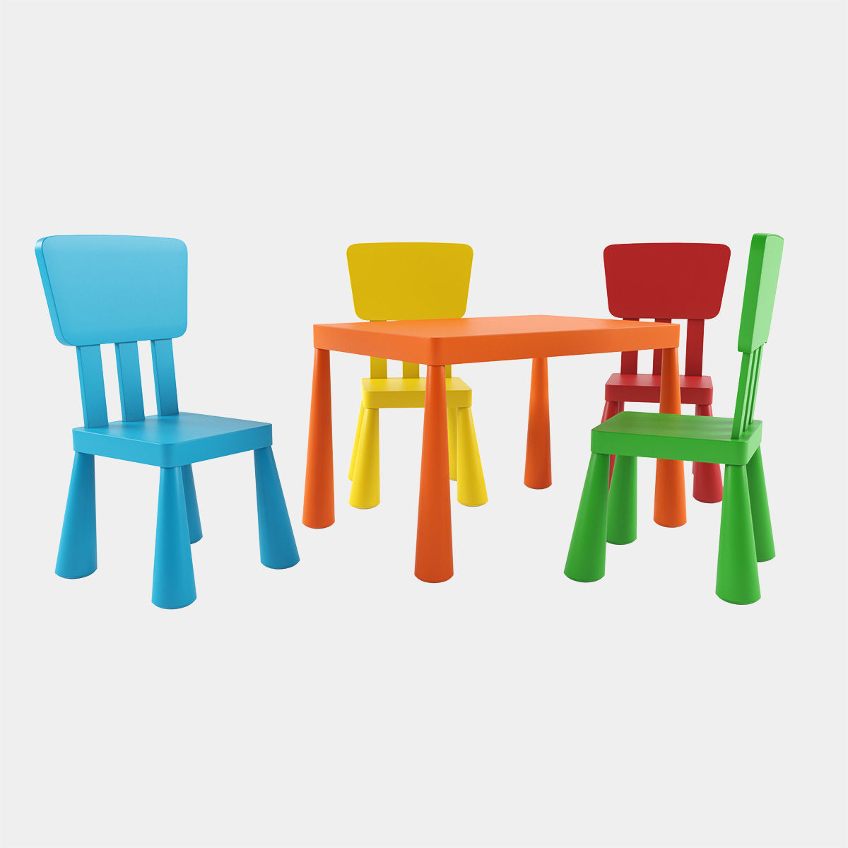 3d Ikea Mammut Table And Chairs Cgtrader