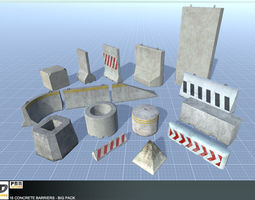 3D model PBR 16 Concrete Barriers - Big Pack