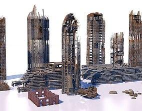 3D model Buildings and skyscrapers in ruins
