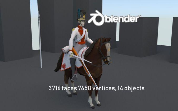 BAVARIA 1806 Dragoon line cavalery LOW POLY Napoleonic era