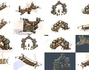 3d Assets buildings structures prehistoric symbols