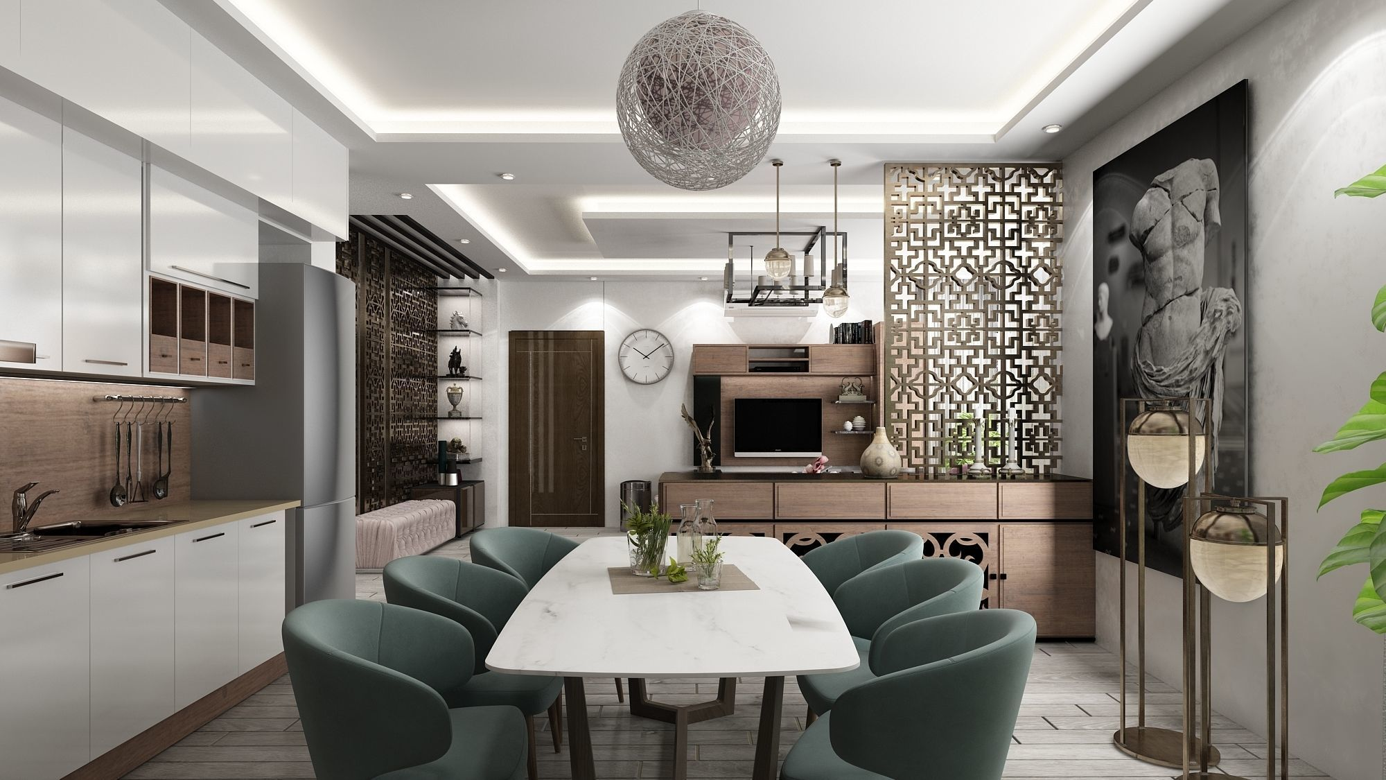 Full detailed Living room hall with kitchen interior scene | 9D model