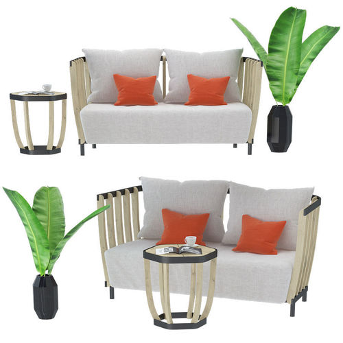 Swing Sofa And Coffee Table 3D Model