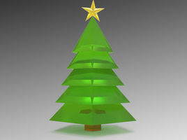 Low-poly Christmas Tree and Star Modeling